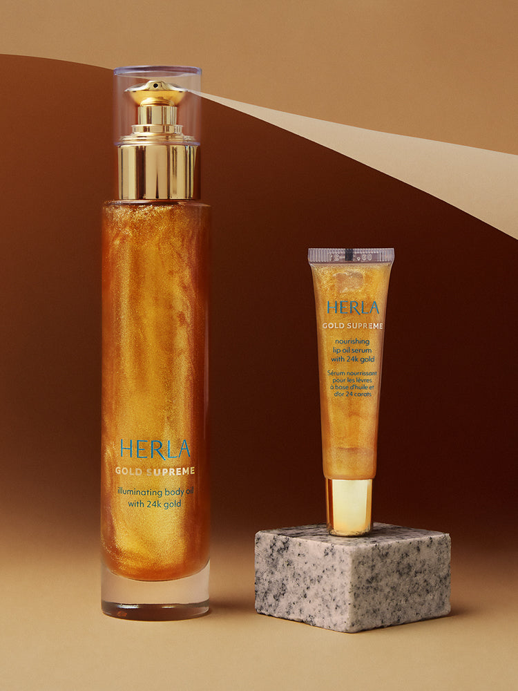 illuminating body oil and nourishing lip oil bundle