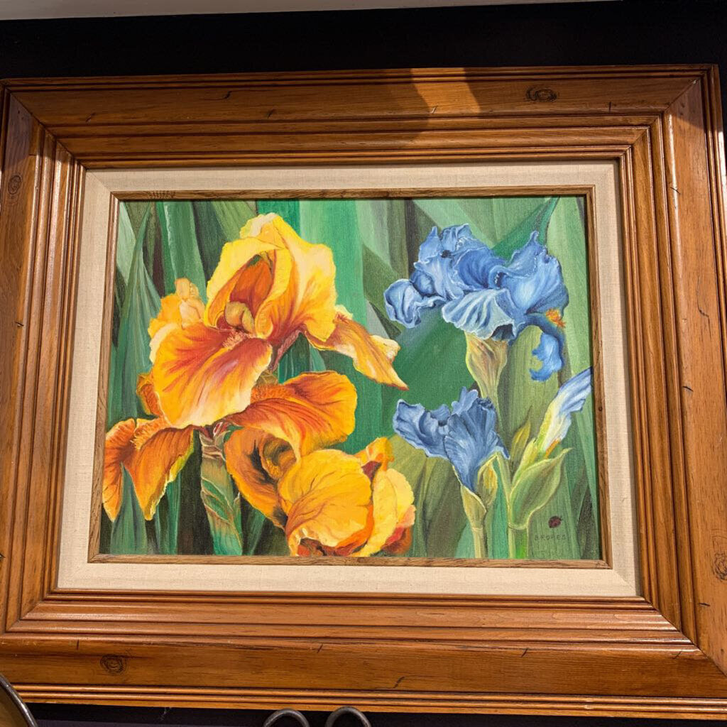 Yellow Iris Original Oil Painting