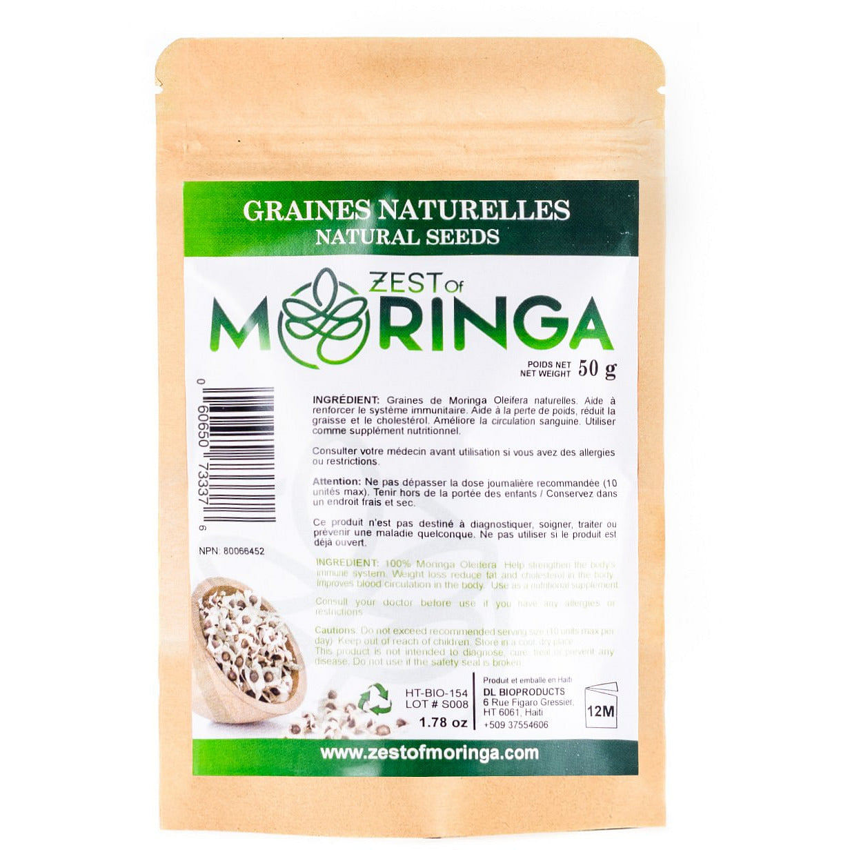 Natural Oleifera Seeds, Healthy Snack With Fiber, Amino Acids & Natural Sugar 50g - Zest Of Moringa