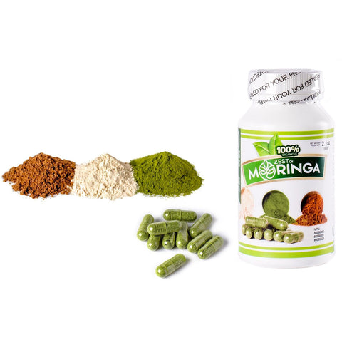 3 in 1 Natural Moringa Oleifera Capsules-Powerful nutritional supplements mixture of Roots, Seeds, And Leaf powders- containing vitamin A,B,C and D for relief of fatigue, depression-best for weight loss-help in insomnia-500MG