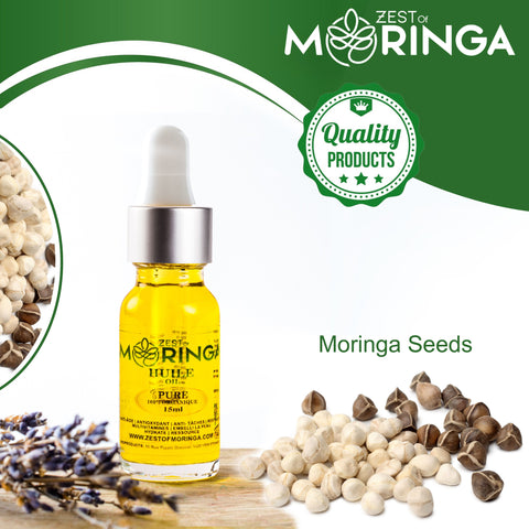 Moringa 100% Natural seed oil for hair growth, Face Oil for Anti-Aging - Acne Treatment scar removal - Eczema/Essential oil for skin care , Moringa hair serum Rich of Vitamin A B C D E - Best for dandruff of hairs and Hair loss