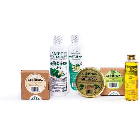 Moringa Hair & Skin Care Kit, Hair Pomade Soap, Oil, Shampoo & Conditioner