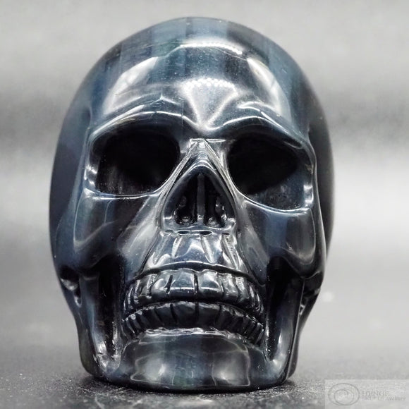 Blue Tiger Eye Human Skull