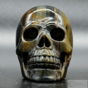 Blue and Gold Tigers Eye Skull