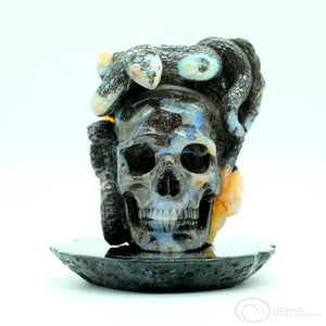 Opal Skull with Obsidian Plate
