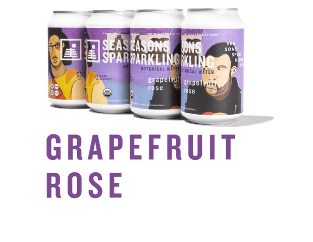 Cans of Seasons Sparkling Botanical Water in Grapefruit Rose flavor featuring art by Alex Bradley Cohen