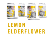 Cans of Seasons Sparkling Botanical Water in Lemon Elderflower flavor featuring art by Elizabeth Allen-Cannon