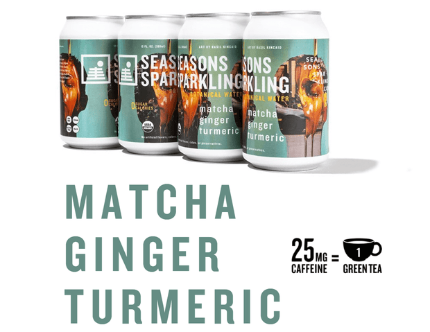 Cans of lightly caffeinated Seasons Sparkling Botanical Water in Matcha Ginger Turmeric flavor featuring art by Basil Kincaid