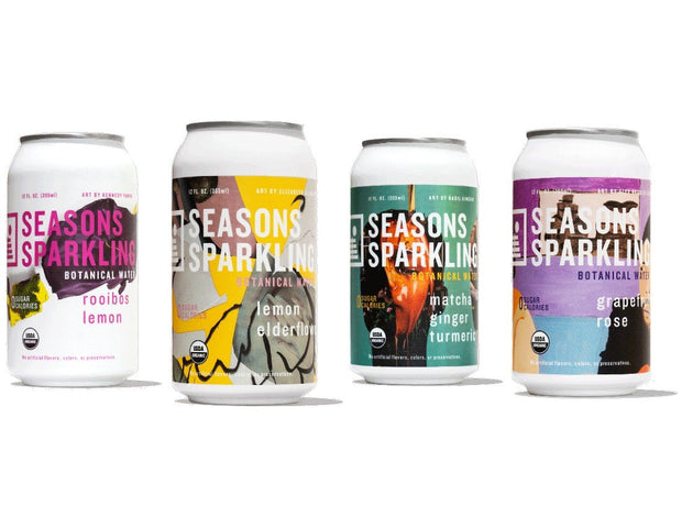 Cans of four flavors of Seasons Sparkling Botanical Waters made with superfoods, lightly caffeinated teas, and botanicals