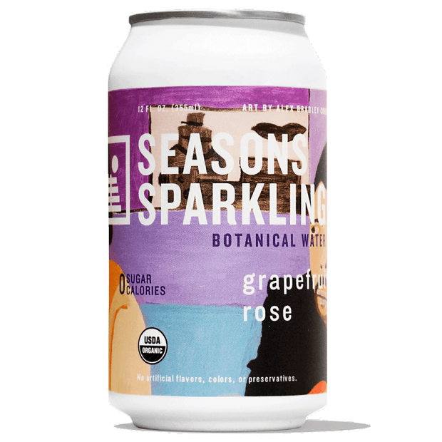 A can of Seasons Sparkling Botanical Water in Grapefruit Rose flavor featuring art by Alex Bradley Cohen