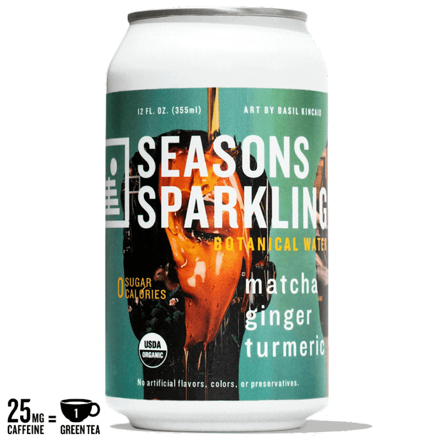 A can of lightly caffeinated Seasons Sparkling Botanical Water in Matcha Ginger Turmeric flavor featuring art by Basil Kincaid
