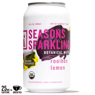 A can of lightly caffeinated Seasons Sparkling Botanical Water in Rooibos Lemon flavor featuring art by Kennedy Yanko