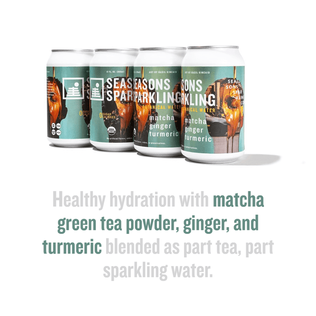 Matcha Ginger Turmeric flavor highlights: matcha green tea powder, ginger, and turmeric - part tea, part sparkling water