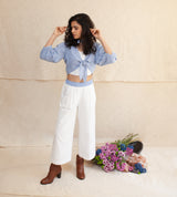 White & Blue Frost Anastazia Knotted Top, Short Top and Pants