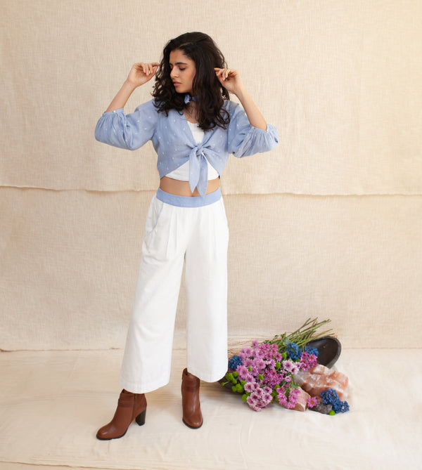 Blue Frost & White Marina Knotted Top and Pants