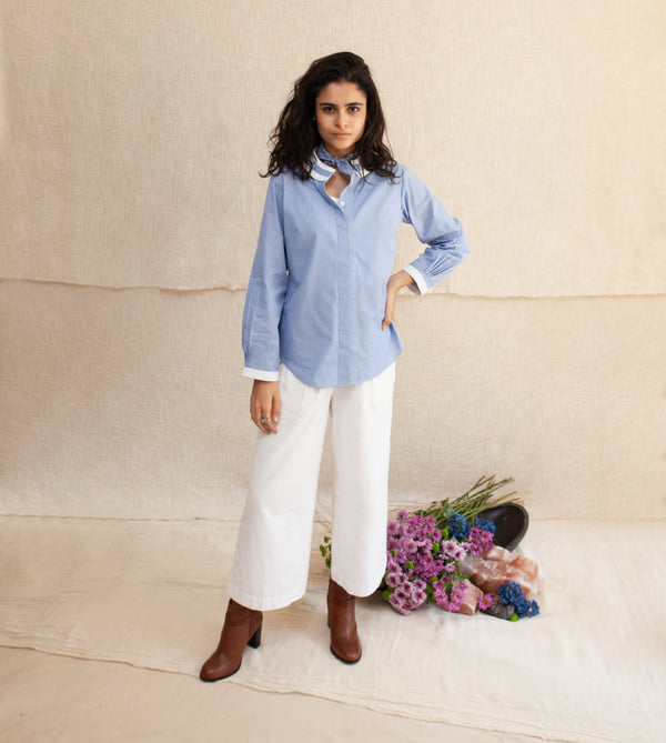 Blue Frost & White Delja Top and Pants