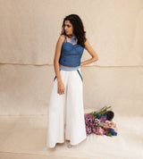 Indigo and White Ziba Jacket, Corset & Pants