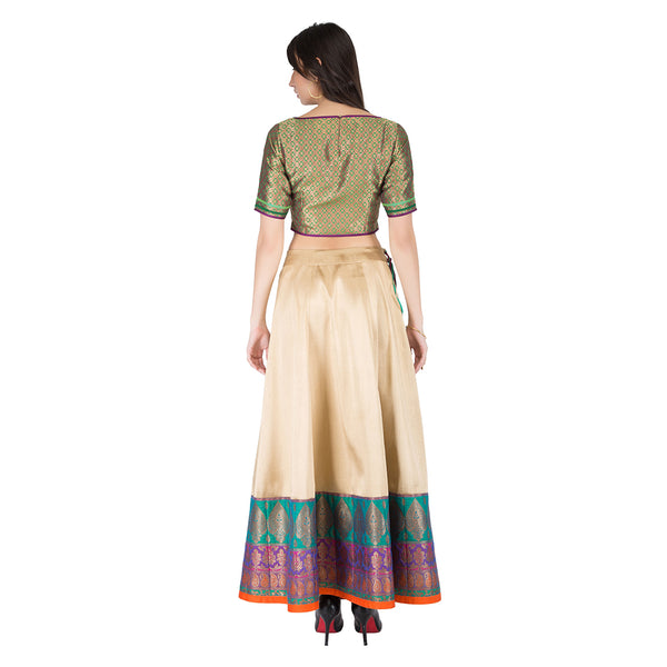 Blouse and Bordered Skirt
