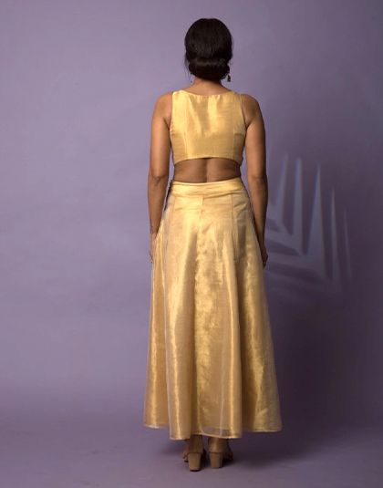 Golden Tissue Blouse with Skirt and Organza stole