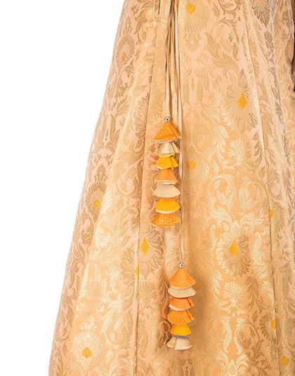 Peach Brocade Corset and Skirt