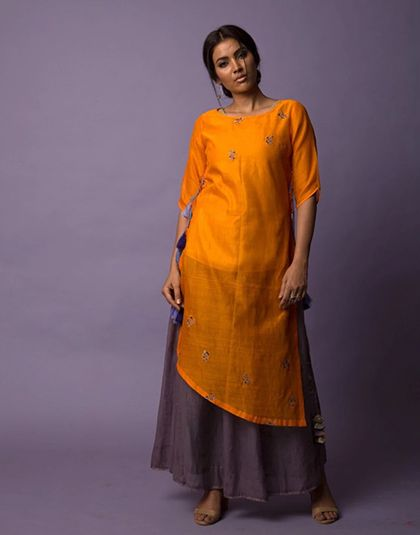 Asymmetric Tunic and Tissue Skirt - Tangerine
