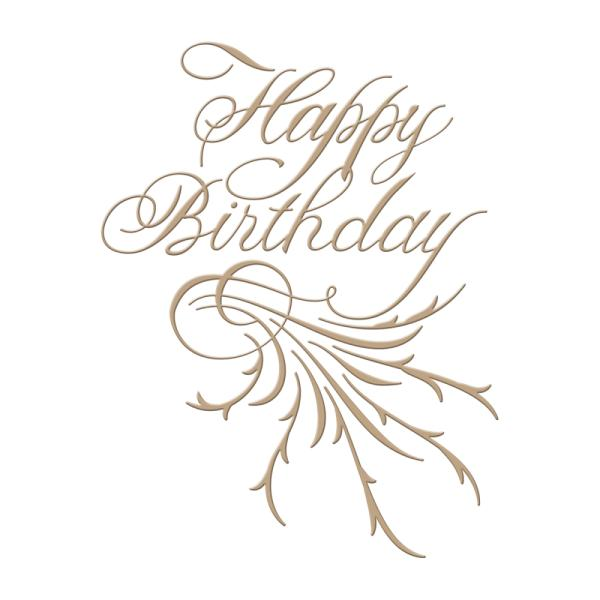 Spellbinders Glimmer Hot Foil Plate - Copperplate Script Happy Birthday by Paul Antonio (GLP-018)