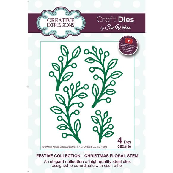Sue Wilson Dies - Festive Collection Christmas Floral Stem - CED3130