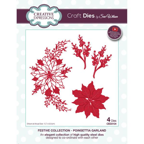 Sue Wilson Dies - Festive Collection Poinsettia Garland - CED3134