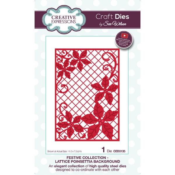 Sue Wilson Dies - Festive Collection Lattice Poinsettia Background - CED3135