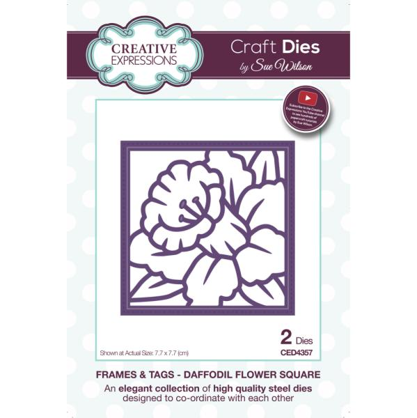 Sue Wilson Dies - Frames and Tags Collection Daffodil Flower Square - CED4357
