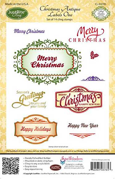 JustRite Cling Stamp - Christmas Antique Labels One (CL-03785)
