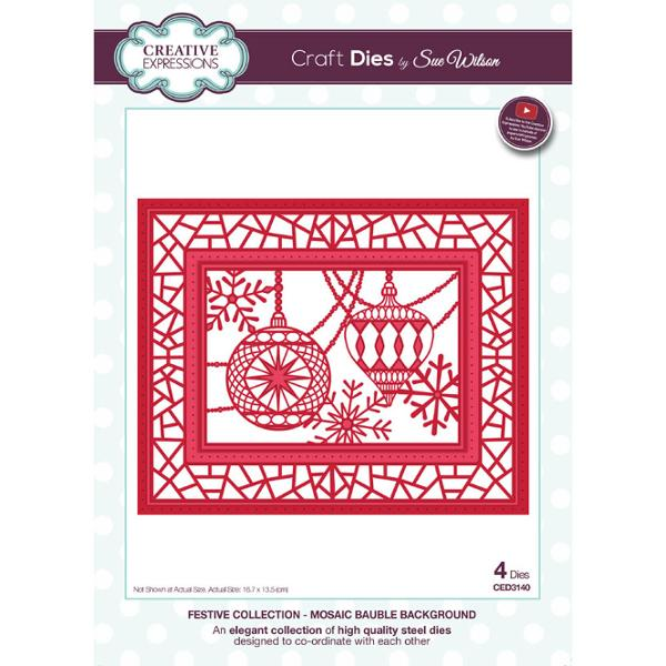 Sue Wilson Dies - Festive Collection Mosaic Bauble Background - CED3140