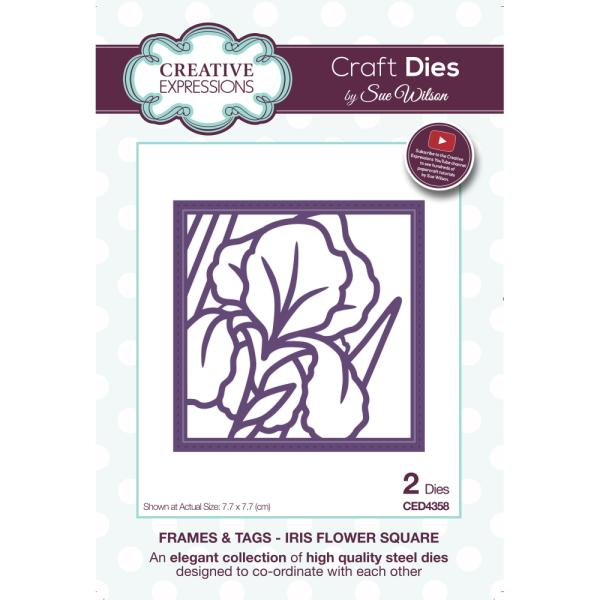 Sue Wilson Dies - Frames and Tags Collection Iris Flower Square - CED4358