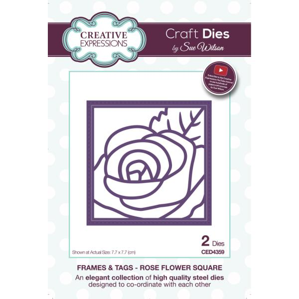 Sue Wilson Dies - Frames and Tags Collection Rose Flower Square - CED4359