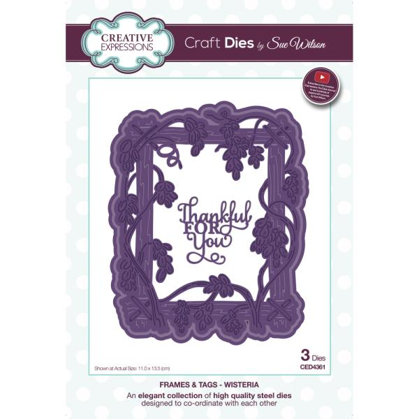 Sue Wilson Dies - Frames and Tags Collection Wisteria - CED4361