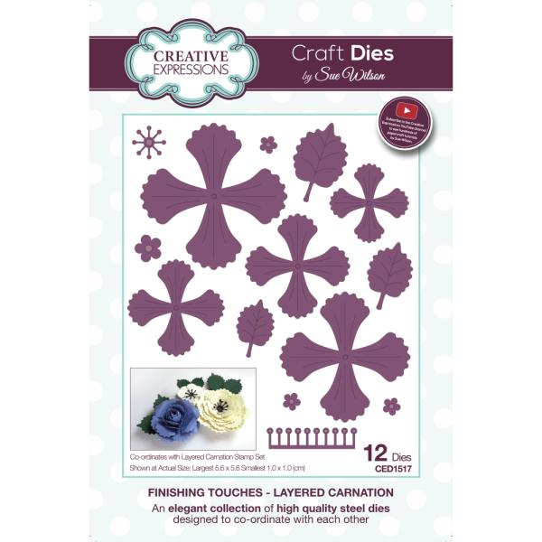 Sue Wilson Dies - Finishing Touches Collection Layered Carnation - CED1517