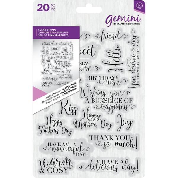 Crafters Companion - Gemini Clear Stamp - Joyful Phrases