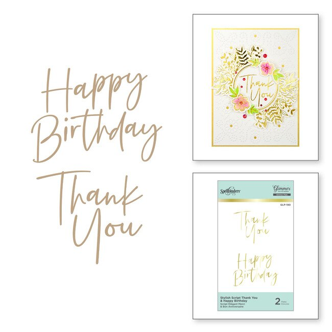 Spellbinders Glimmer Hot Foil Plate - Stylish Script Thank You - GLP-190
