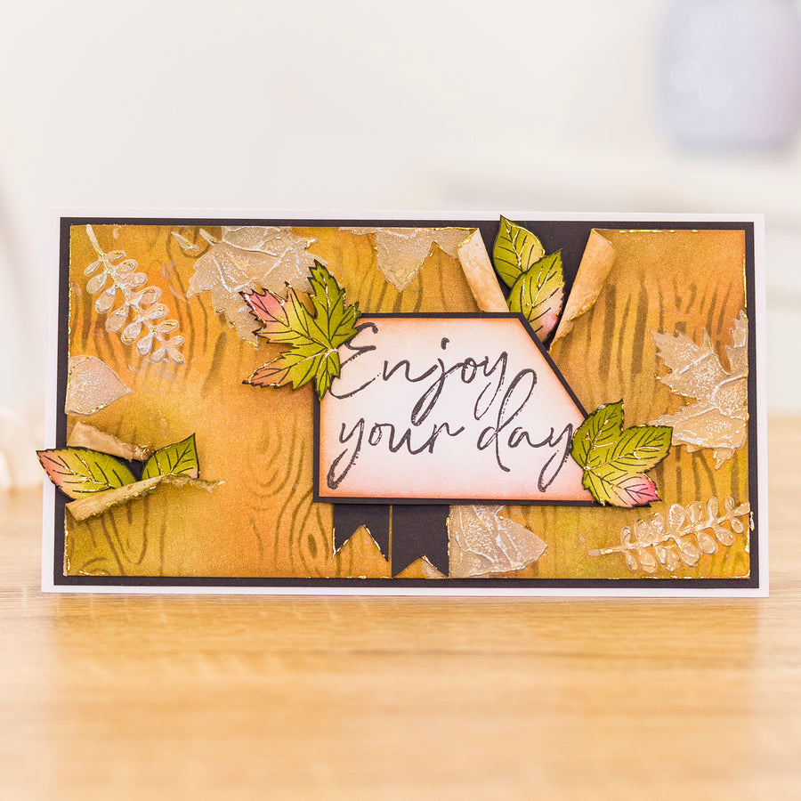 Crafters Companion - Background Stencil & Focal Stamps - Back to Nature
