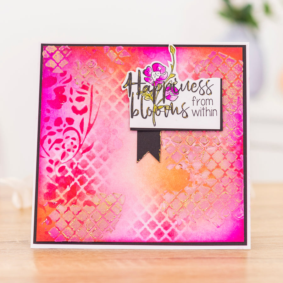 Crafters Companion - Background Stencil & Focal Stamps - Happiness Blooms