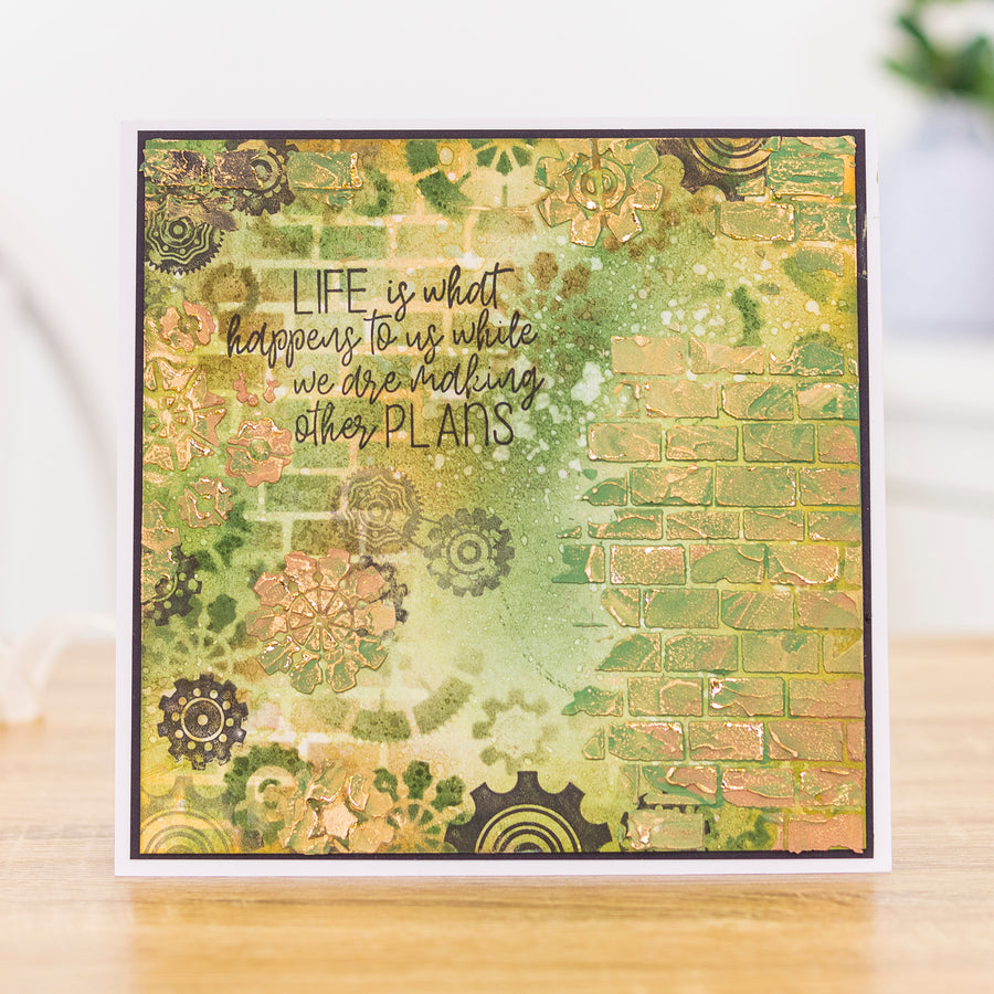Crafters Companion - Background Stencil & Focal Stamps - Life Happens