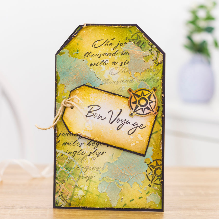 Crafters Companion - Background Stencil & Focal Stamps - Life is a Journey
