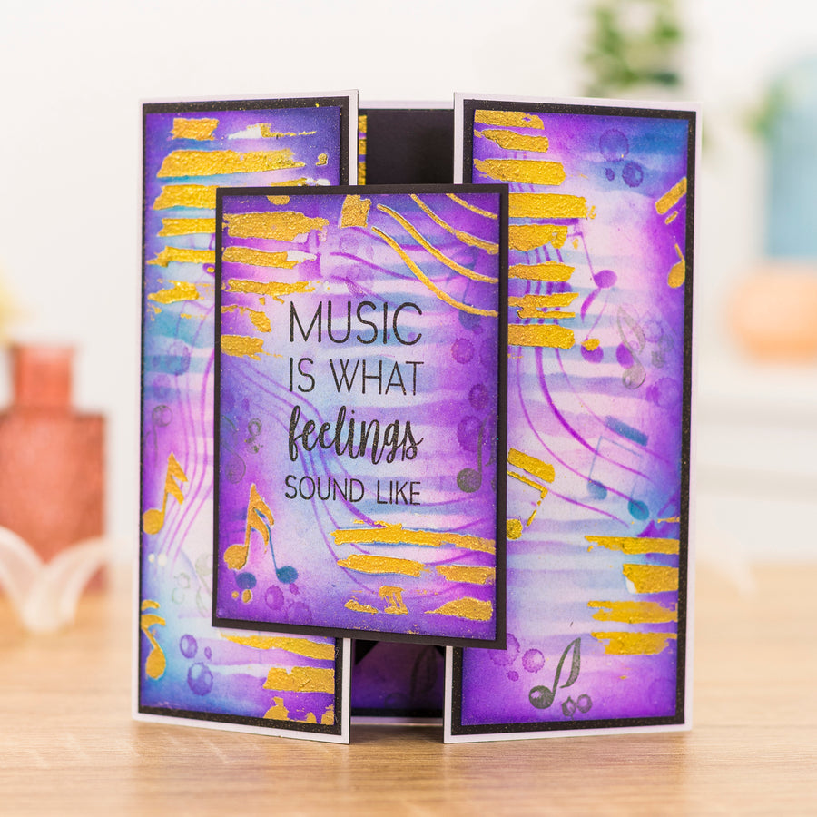 Crafters Companion - Background Stencil & Focal Stamps - Music & Lyrics