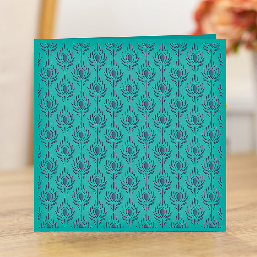 Nature's Garden - Peacock Collection - 6 x 6 Embossing Folder - Plumage Panel