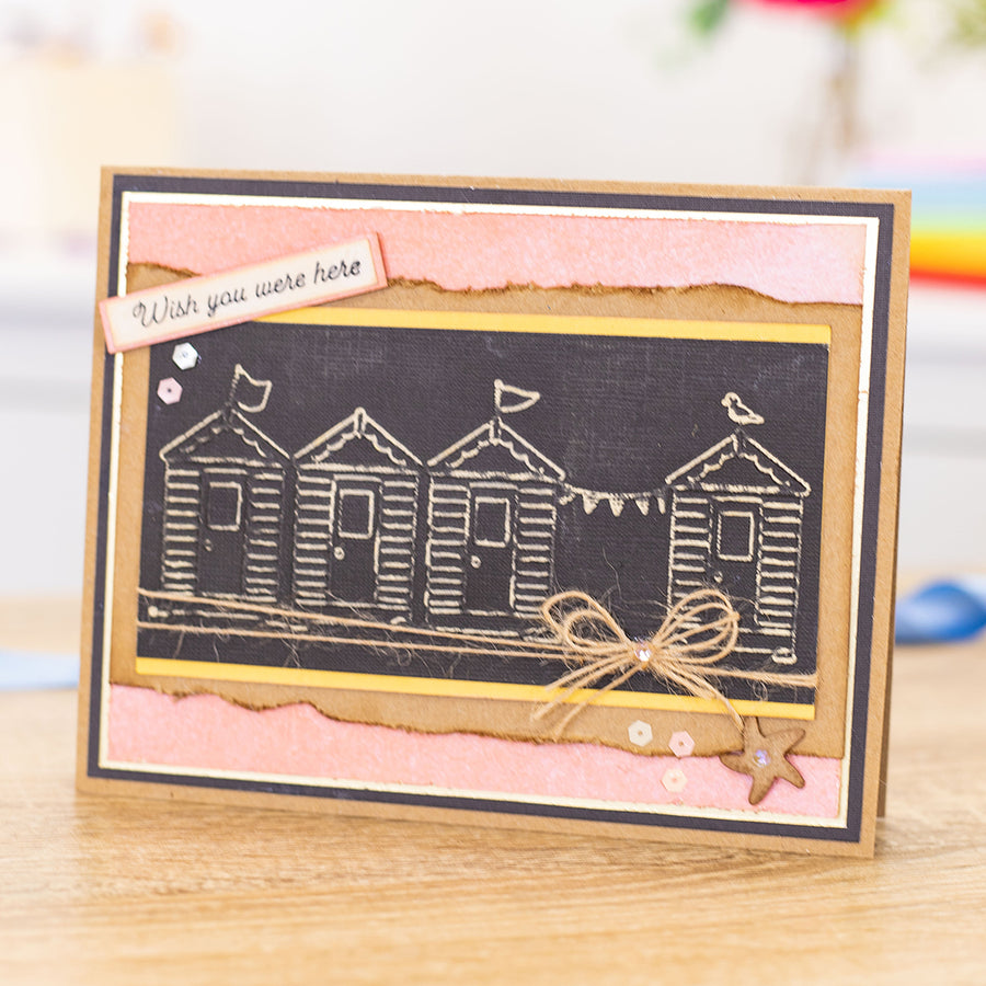 "Gemini by Crafters Companion - 5.75"" x 2.75"" Embossing Folder - Best of British Beach Huts"