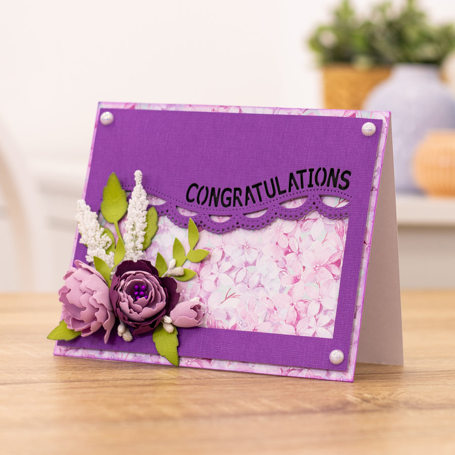 Gemini by Crafters Companion -  Borders & Words Interchangeable Edgeable Die - Congratulations