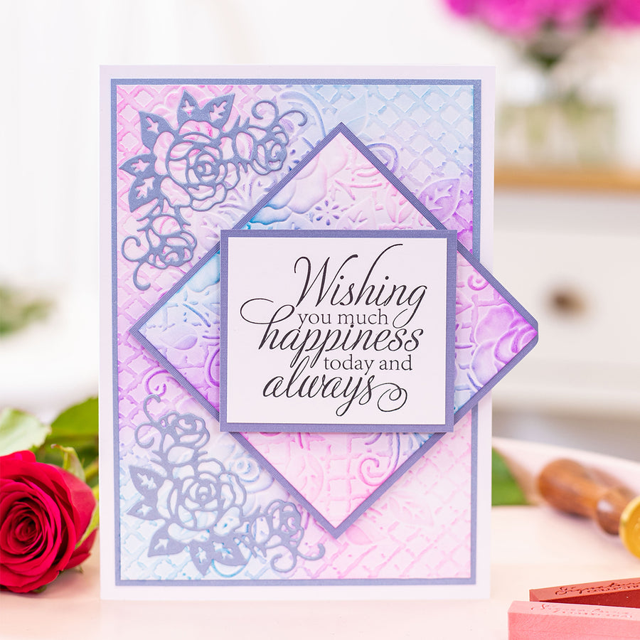 Sara Signature Collection - Rose Garden - 5x7 3D Embossing Folder - Rose Trellis