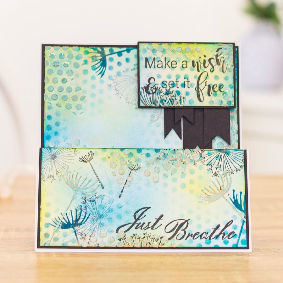 Crafters Companion - Background Stencil & Focal Stamps - Make a Wish