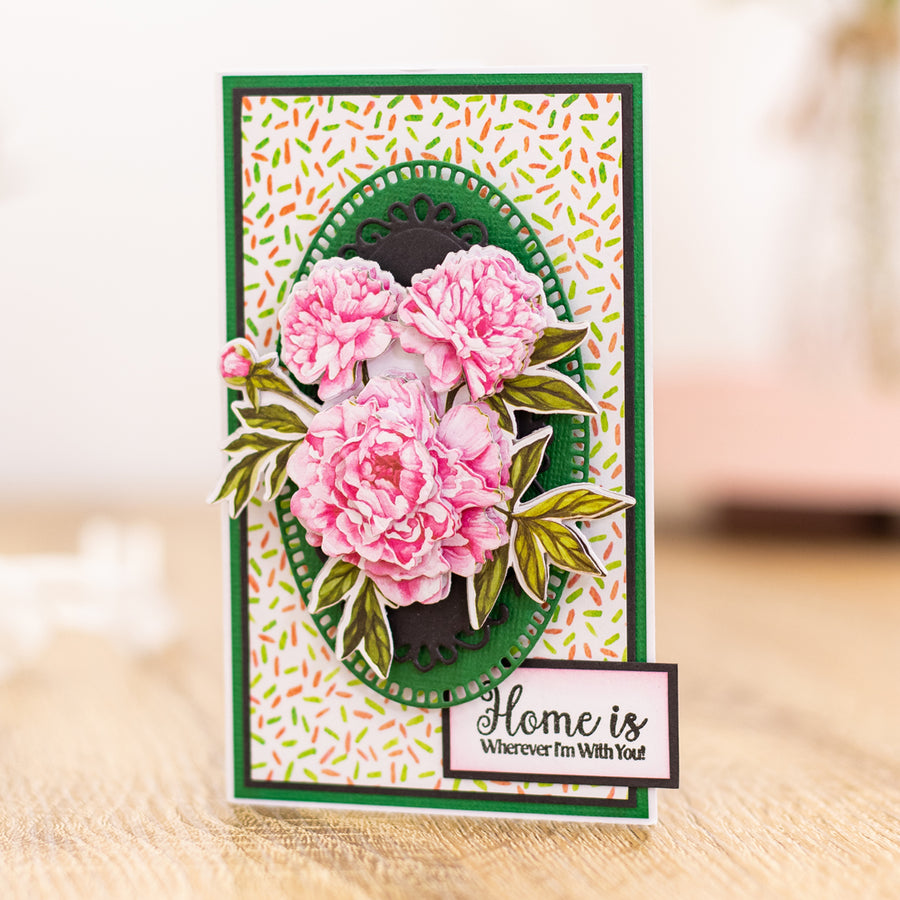 Crafters Companion - Clear Acrylic Stamps - Peony Blooms