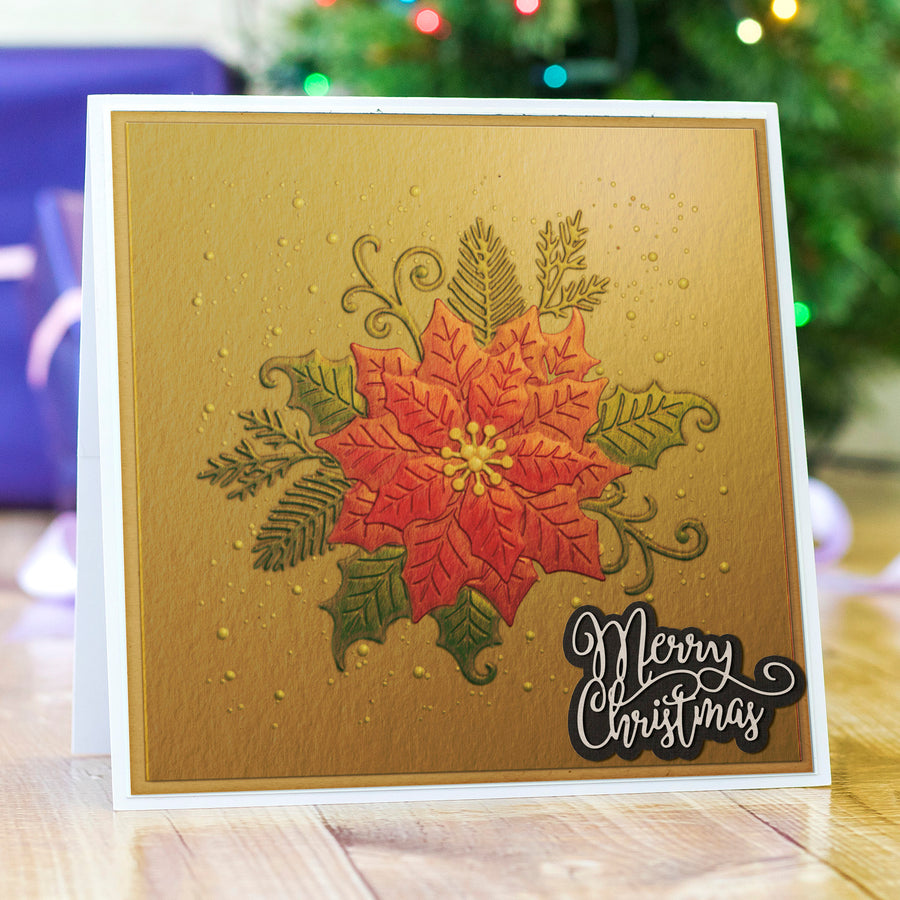 Gemini 3D Embossing Folder - 6 x 6 - Elegant Poinsettia